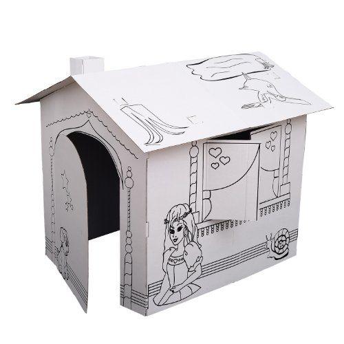 Kids Folding Cardboard Paper House Coloring Walk in Playhouse Kit ...