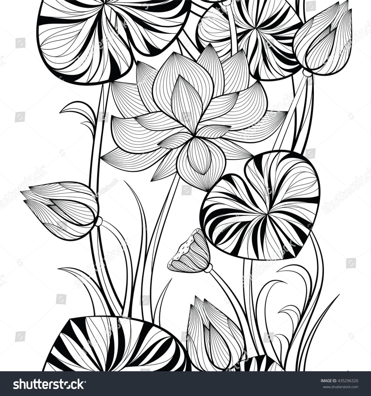 Seamless pattern of lotus flowers and leaves vector illustration in seamless pattern of lotus flowers and leaves vector illustration in doodle style sketch for izmirmasajfo