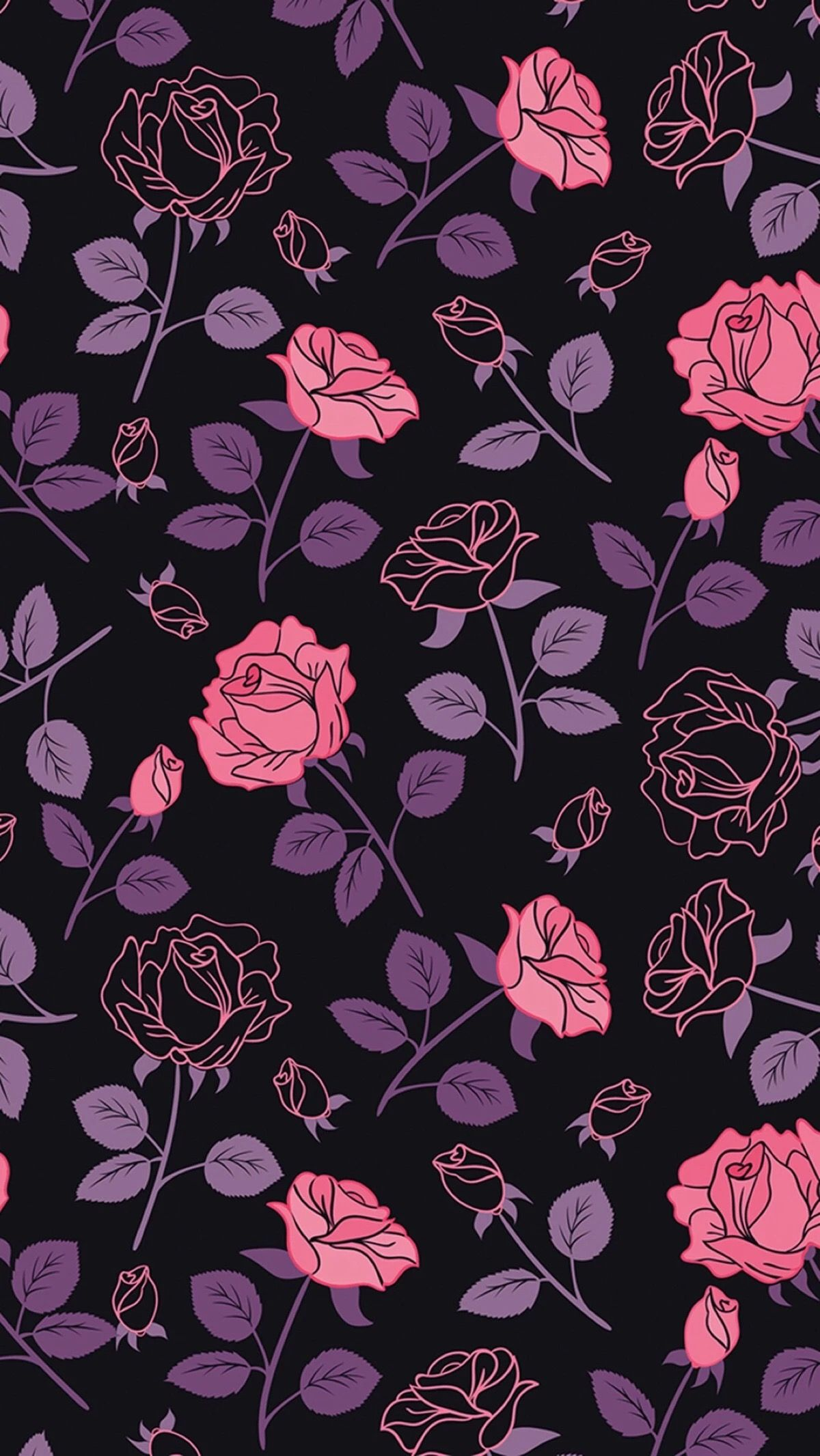 Pink and purple roses on black love this papeis de - Pink rose black background wallpaper ...