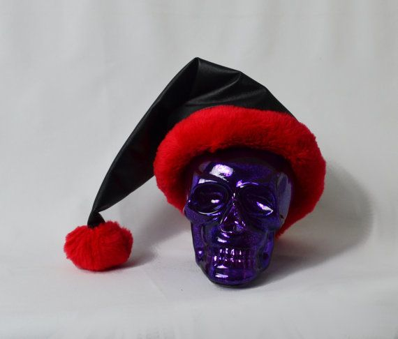 black and red faux leather santa hat fur and black leather naughty