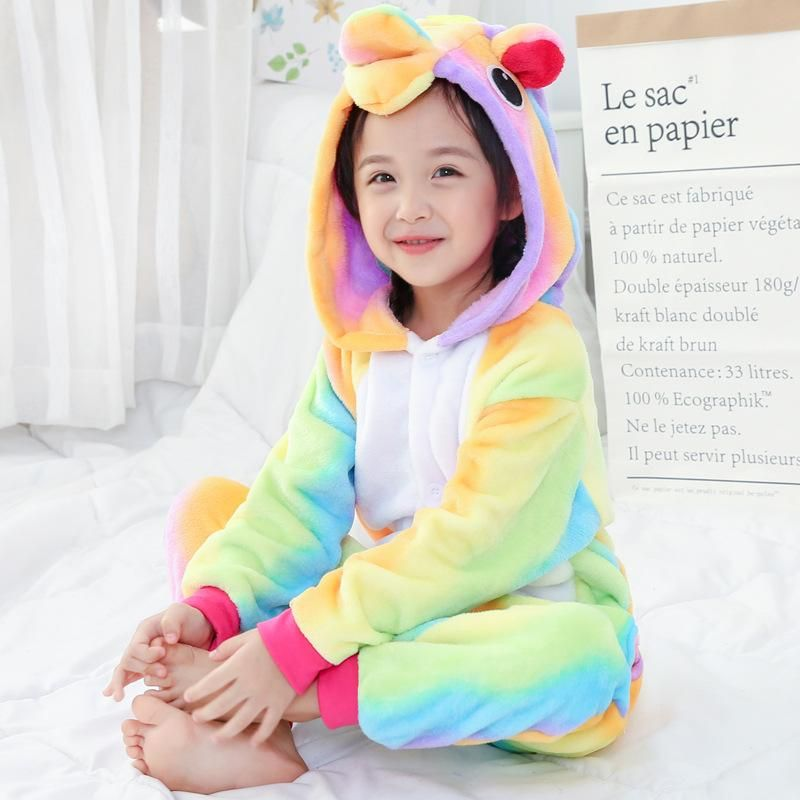 Child Boys Girls Kids Rainbow Unicorn Costume Pyjamas Onesie100 Sleepwear