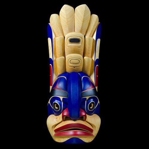 """Raven Learning to Transform"" Mask by Latham Mack, Nuxalk artist (W130801)"