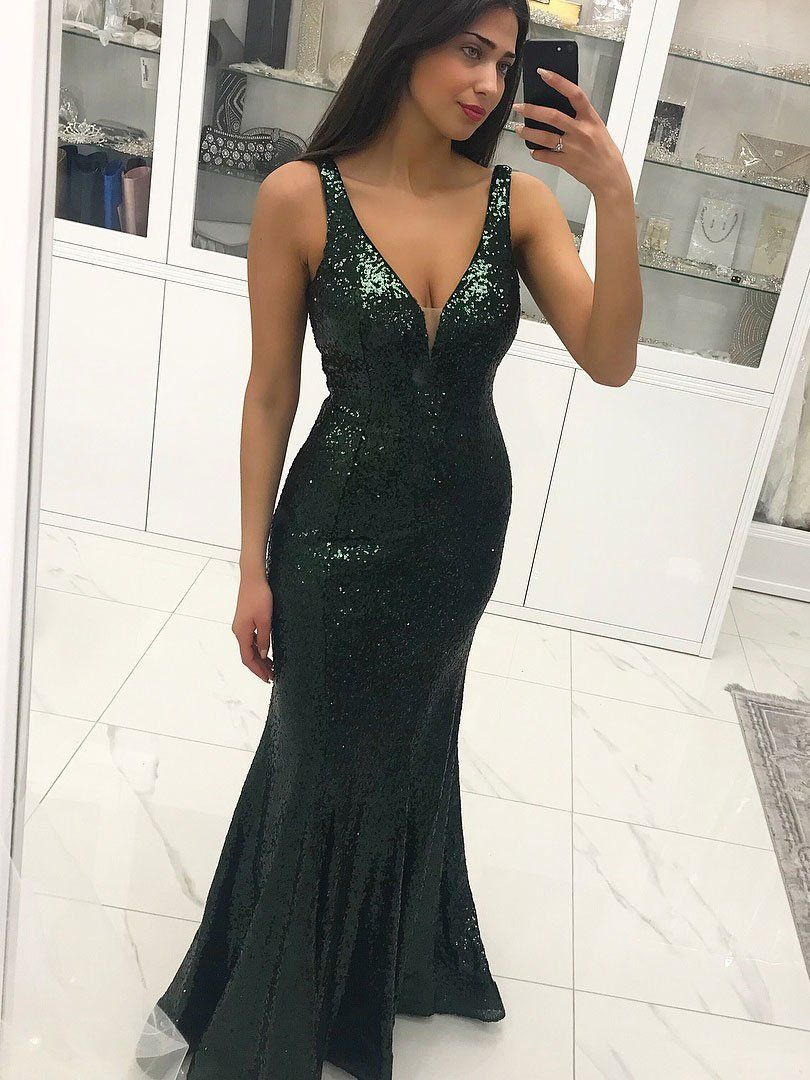 Sexy long green mermaid lace prom dresses sequins backelss formal