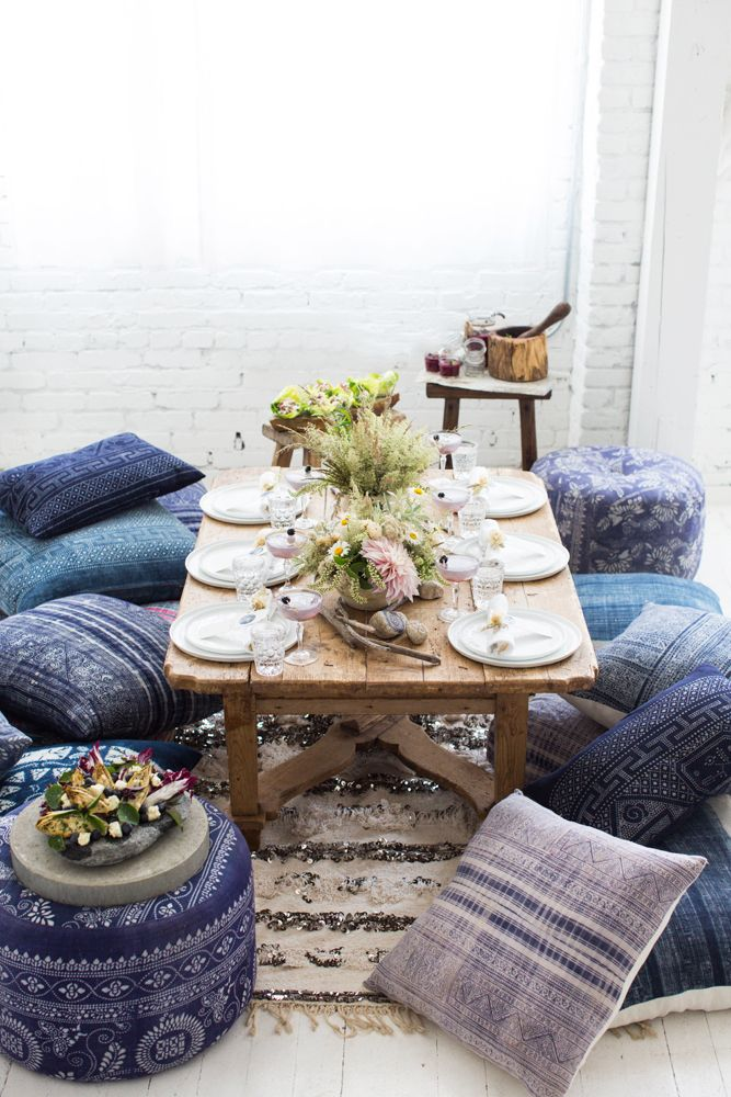 Low Dining Tables + Cushion Seating | Found Vintage Rentals | Boho