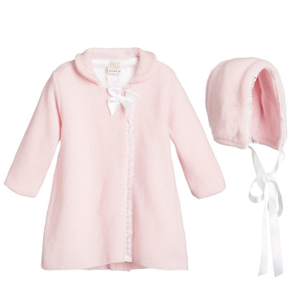 4fe87bc11 Paz Rodriguez Pink Knitted Wool Pram Coat   Bonnet Set at ...