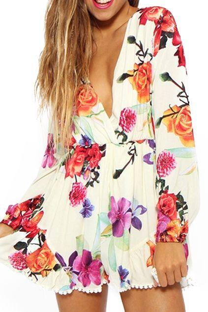 5dd7504f351 abaday Floral Print V-neck White Playsuit - Fashion Clothing