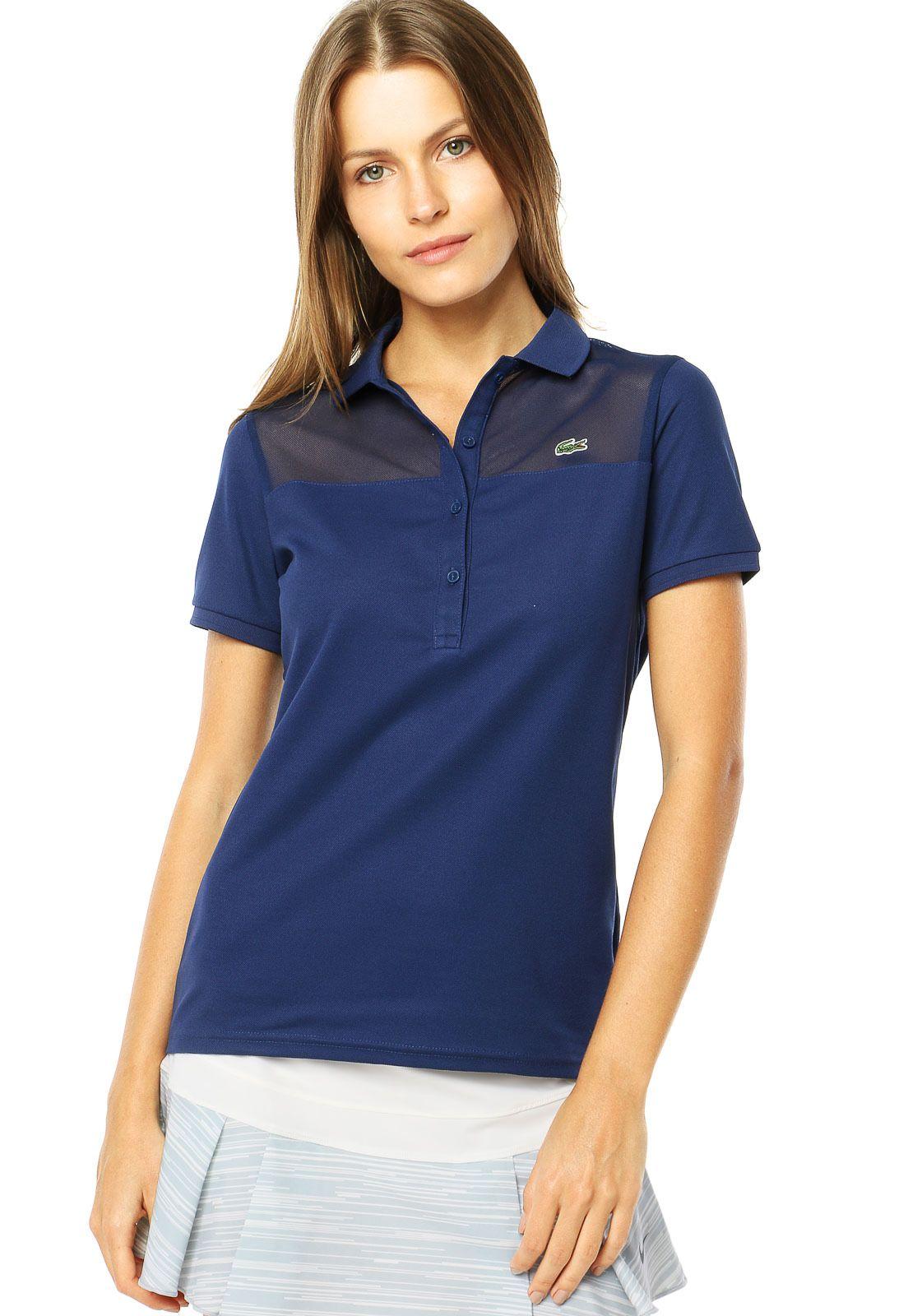 Camisa Polo Lacoste Recorte Azul - Compre Agora  c01c8bbfd90ce