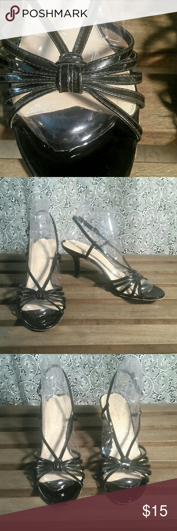 "Strappy Patent Heels Pretty patent leather strappy heels by Via Spiga. 3 1/2"" heels. Via Spiga Shoes Heels"