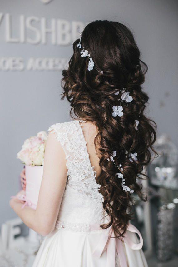7d4a1c2efa93 Wedding flowers hair vine Bridal hair crystal vine Pearl hair