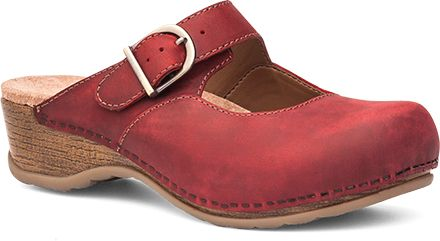 Womens Martina Clogs  in Red Antiqued Oiled Leather