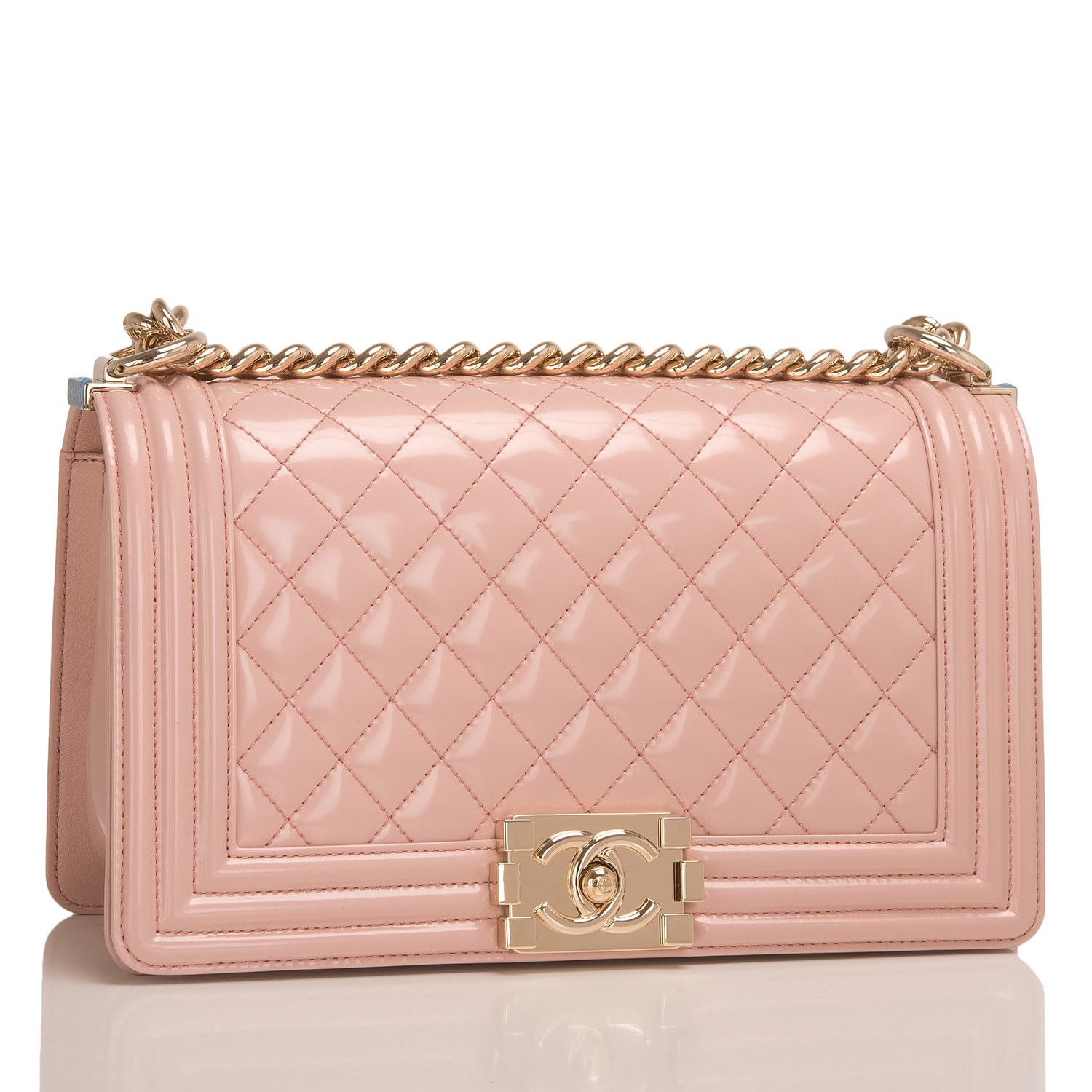Chanel light pink iridescent patent Medium Boy bag with light gold tone  hardware in pristine condition. Shop authentic Chanel Boy bags at Madison  Avenue ...