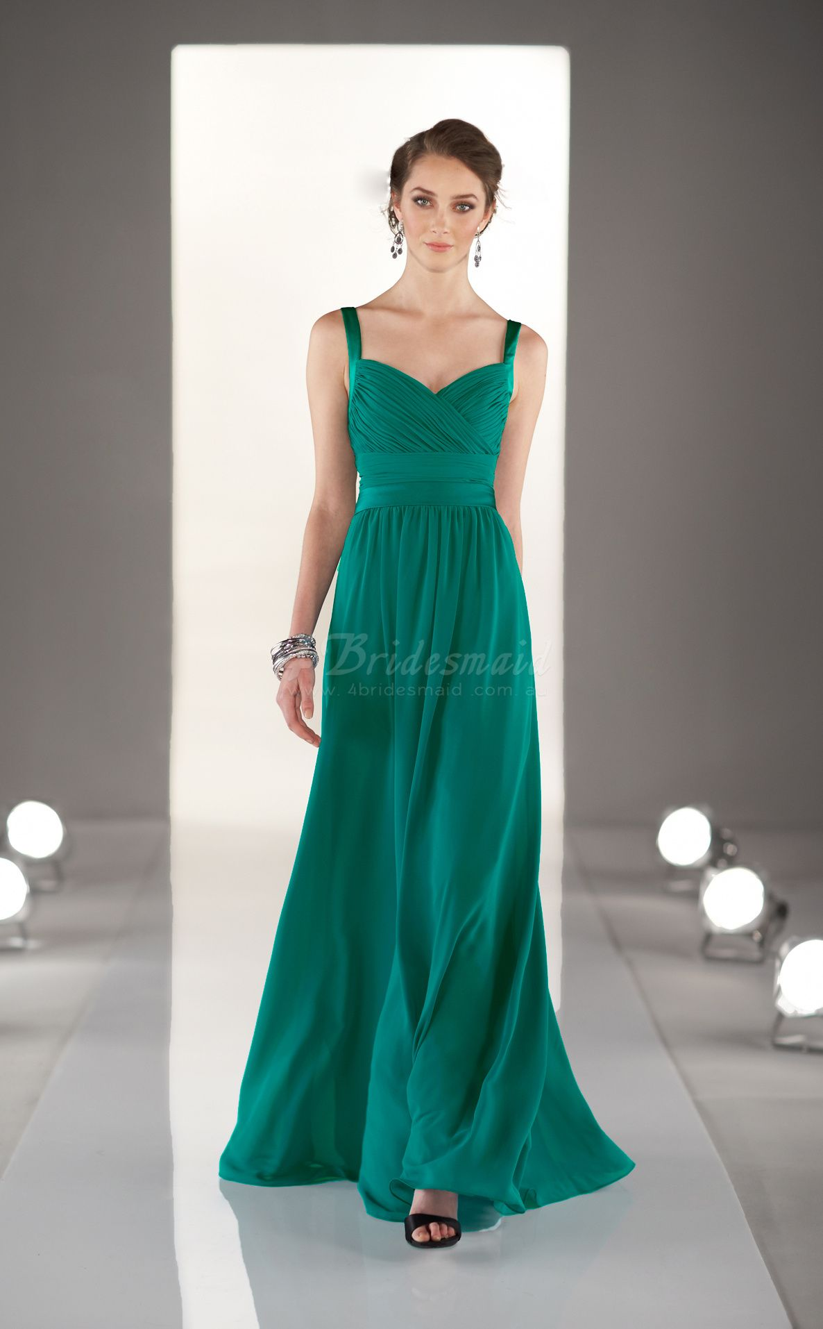 Dark green chiffon aline straps floorlength bridesmaid dresses