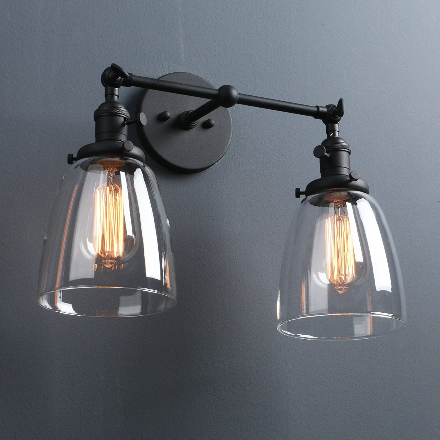 Phansthy Industrial Wall Sconce Fixture Vintage Style Clear Glass