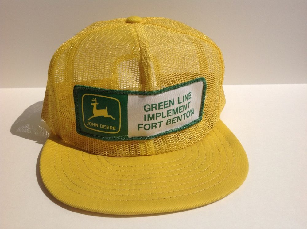 14169812415 VTG JOHN DEERE 80s USA Louisville MFG Yellow ALL MESH Trucker Hat Cap  Snapback