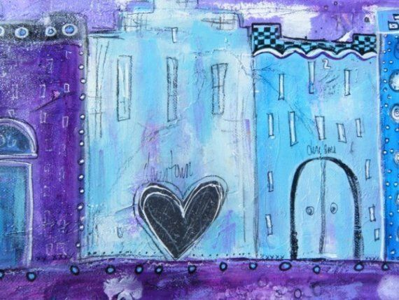 Aberdeen Original Mixed Media  Row house downtown funky purple and bluepainting by Jodi Ohl