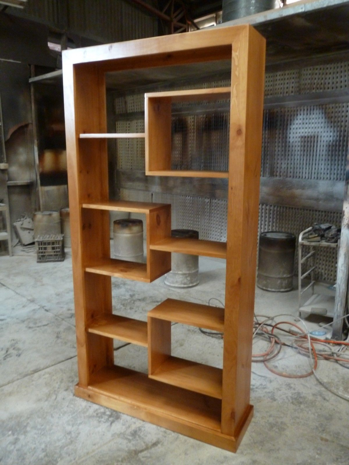 Local made tassie oak timber wooden piece room divider bookcase