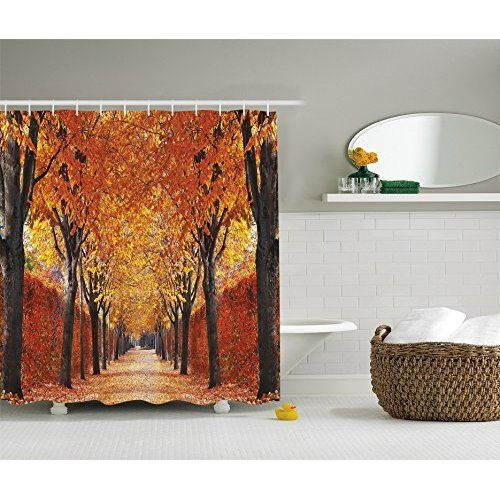 Nature Shower Curtain Decor By Ambesonne Fall Road In Park Autumn Leaves Distance Perspective Foliage Forest Polyester Fabric Bathroom