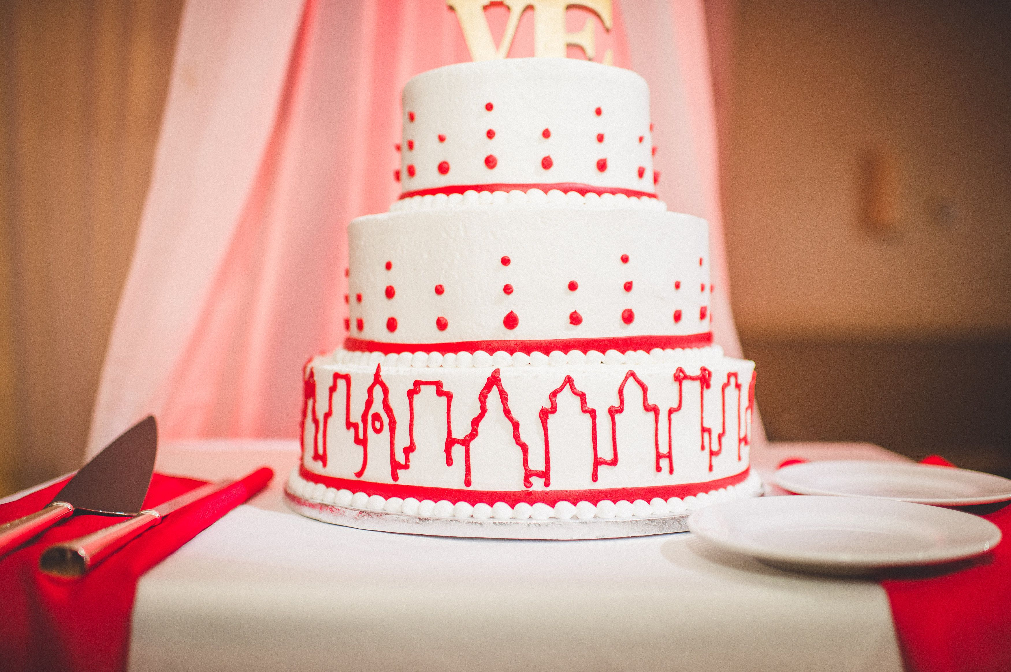 Philadelphia inspired wedding cake. LOVE cake topper and center city ...