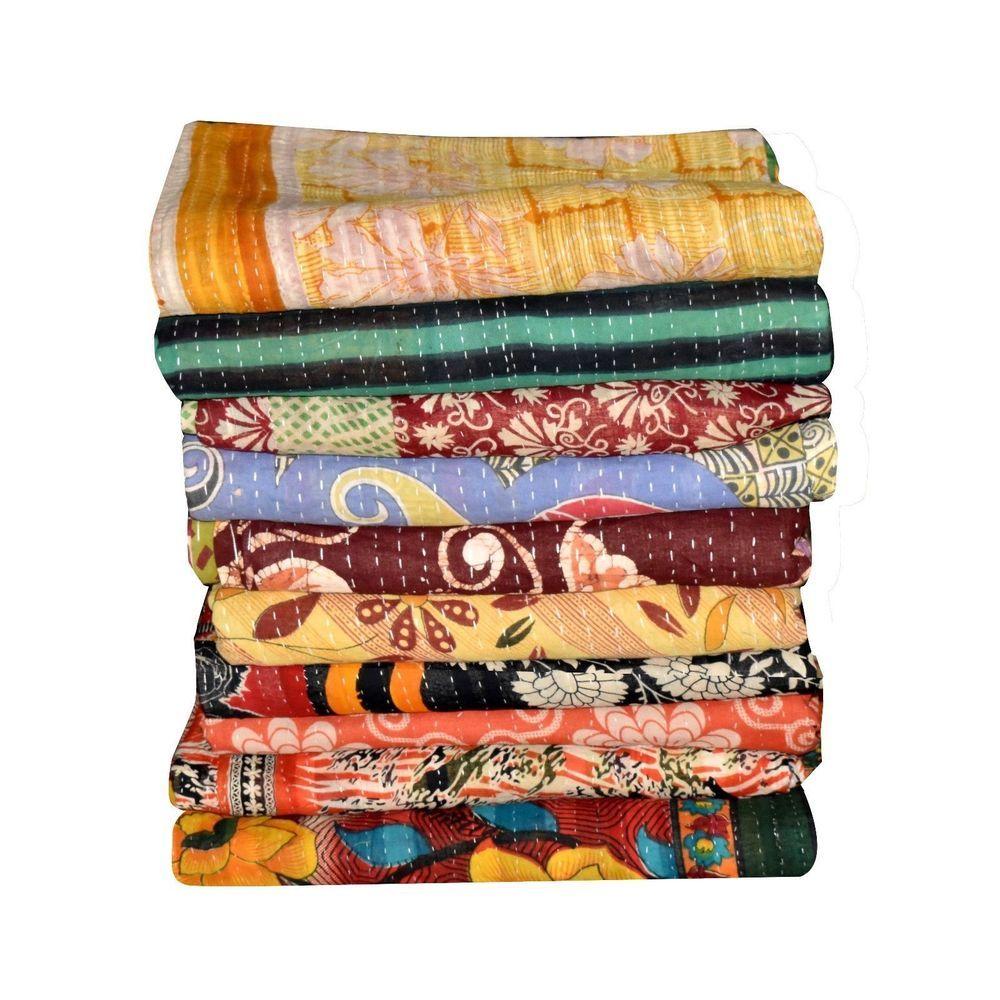 Vintage Kantha Quilt  Indian Reversible Throw Handmade Blanket Wholesale Lot