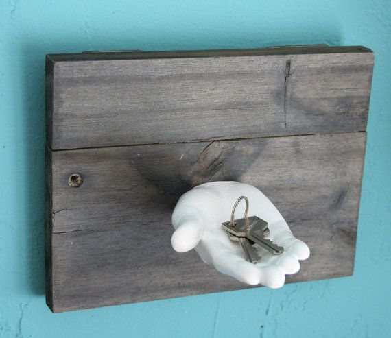 White ceramic hand key holder on reclaimed by happylosangeles ... 439942a7f