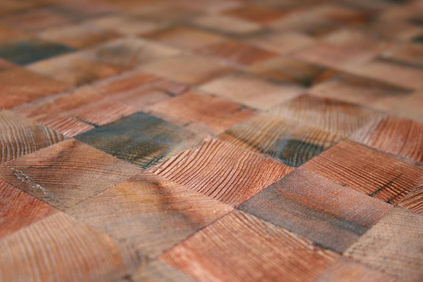 End Grain Wood Block Flooring made from reclaimed redwood