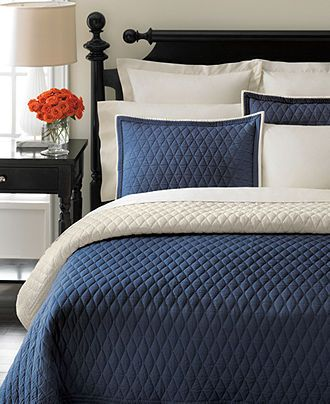 Closeout Martha Stewart Collection Solid Diamond Navy Quilts Reviews Quilts Bedspreads Bed Bath Macy S King Quilt Khaki Quilt Cream Bedding