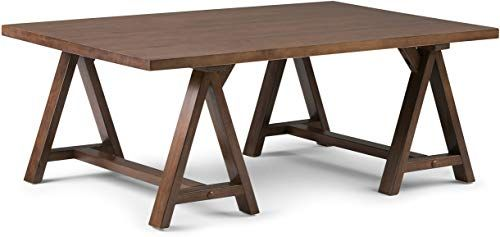 Buy Simpli Home Sawhorse Solid Wood 48 Inch Wide Rectangle Modern