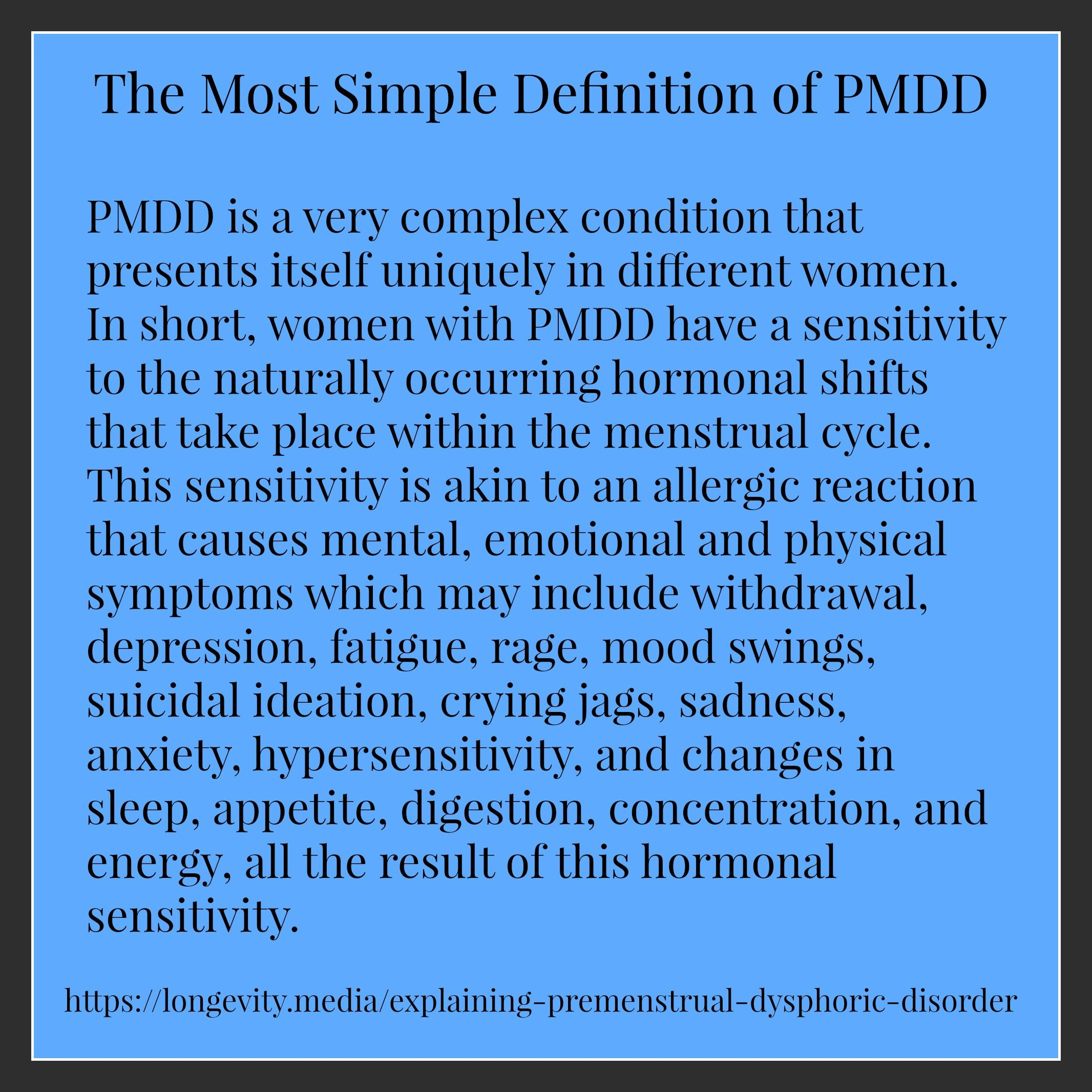 the most simple definition of pmdd #pmdd | mental health & wellness