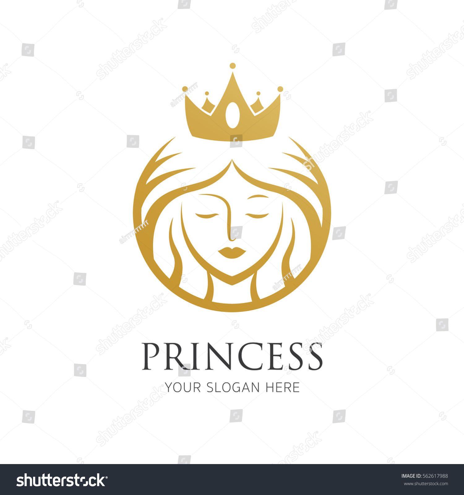 Woman With Crown Line Logo Graphic Design Logo Princess Logo Clip Art Borders