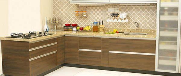 Wood Laminate Indian L Shaped Kitchen Indian Kitchen Design Ideas Kitchen Interior Design Modern Parallel Kitchen Design