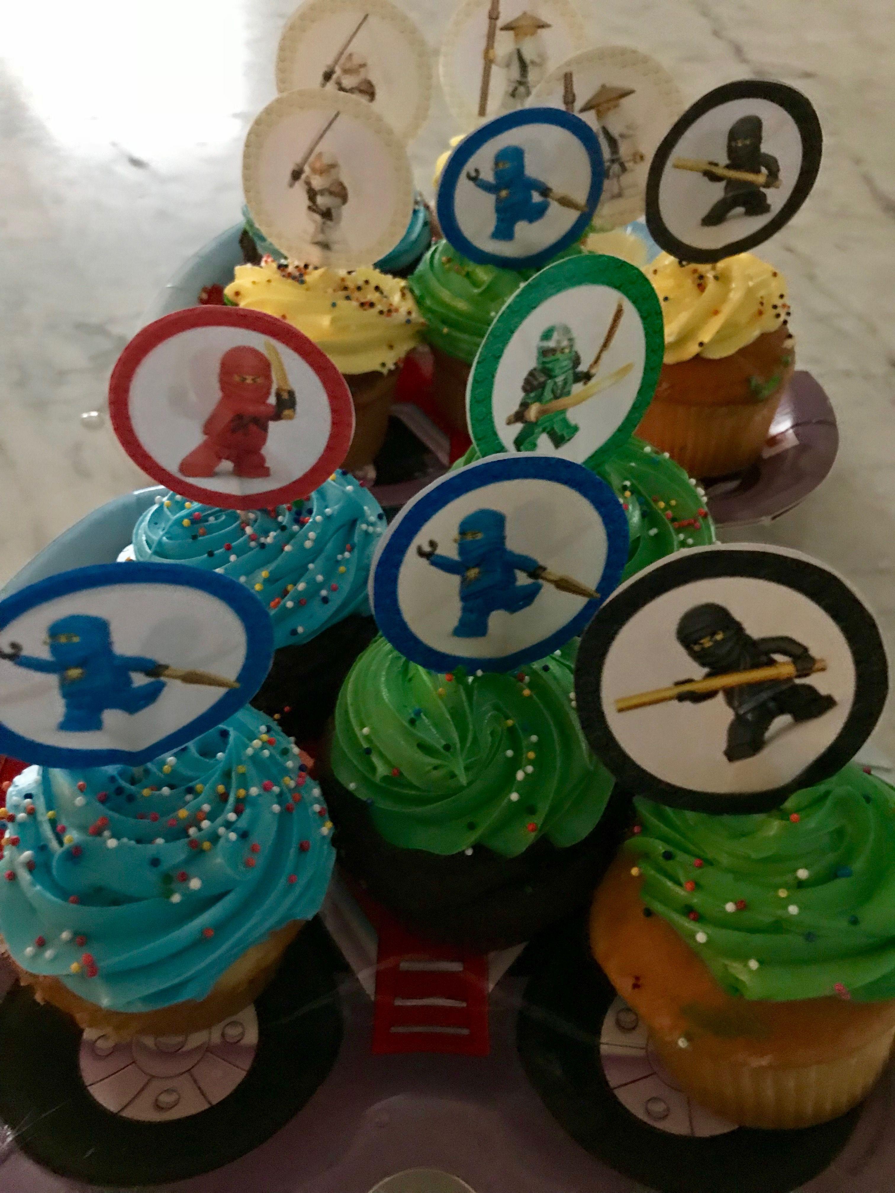 Lego ninjago cupcakes - easy to do with printable topper ...