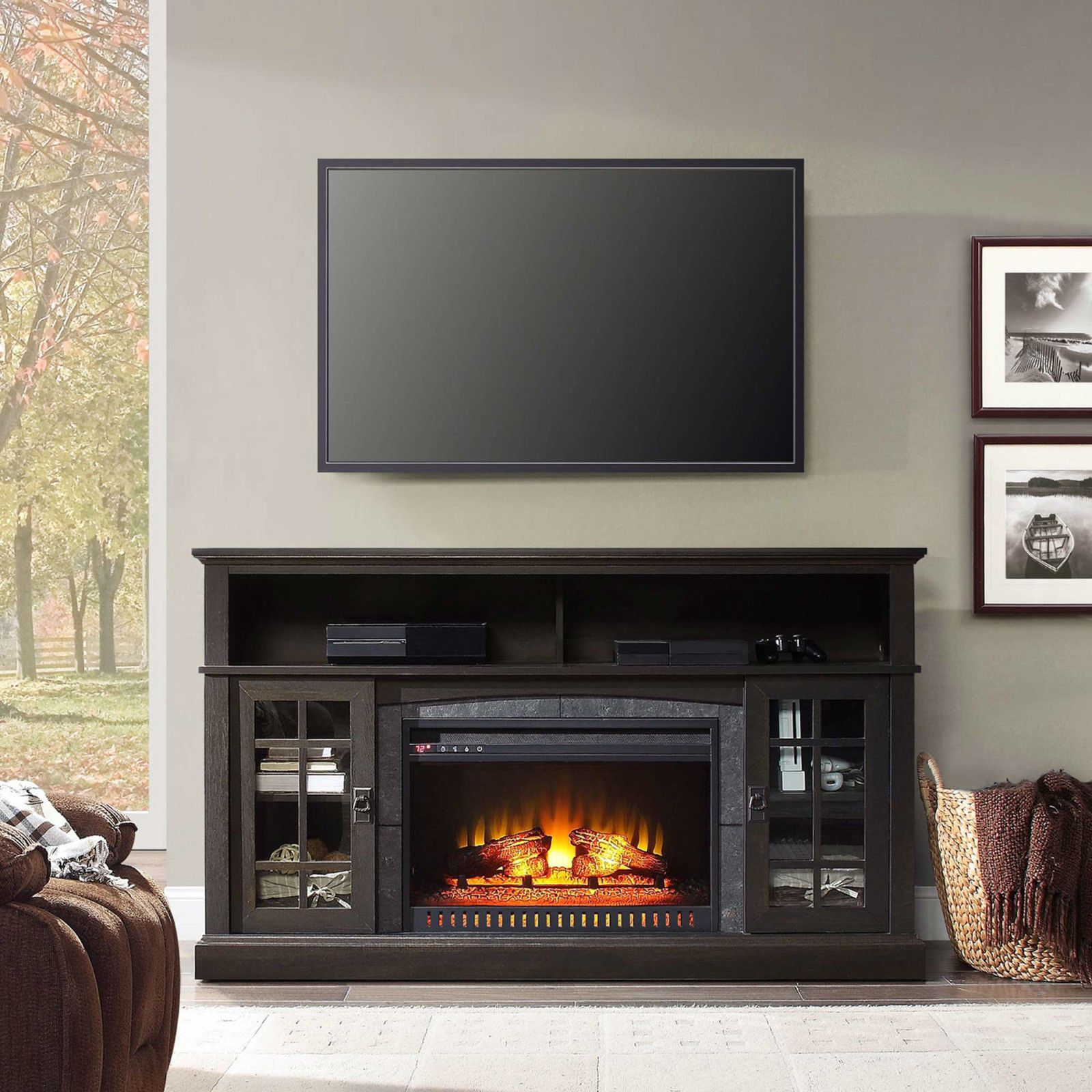 Whalen Media Fireplace Console For Tvs Up To 70 Espresso Finish Fireplace Console Media Fireplace Home Tv