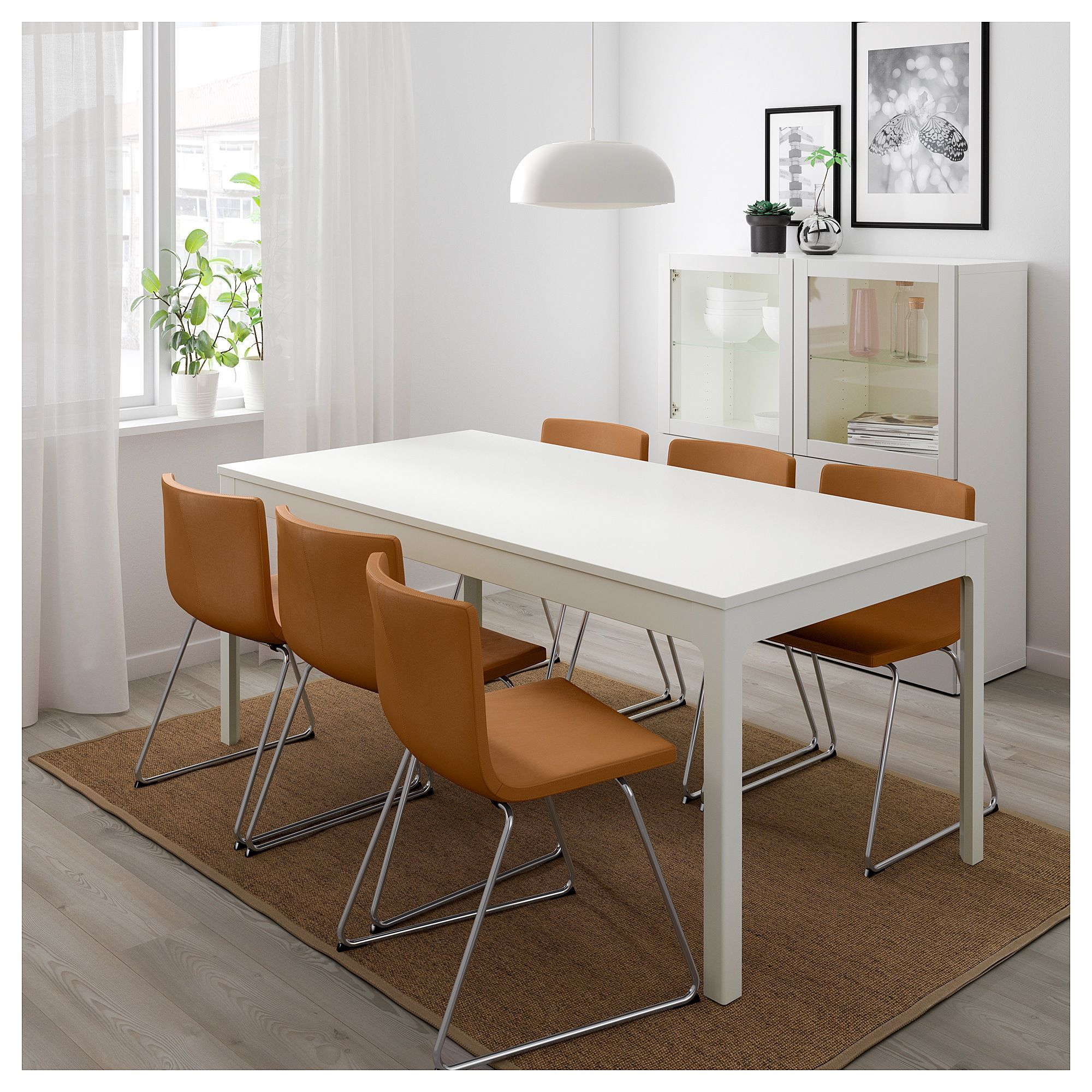 Ekedalen Bernhard Table And 6 Chairs White Mjuk Golden Brown 70 7 8 94 1 2 180 240 Cm Weisse Stuhle Ausziehtisch Haus Deko