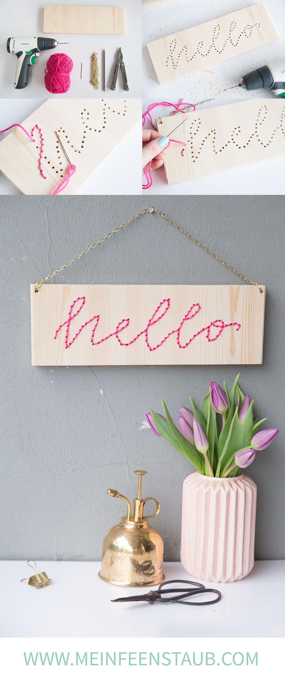 DIY: Lettering-Schild mit Stick-Schrift | Kreativas - DIY ...