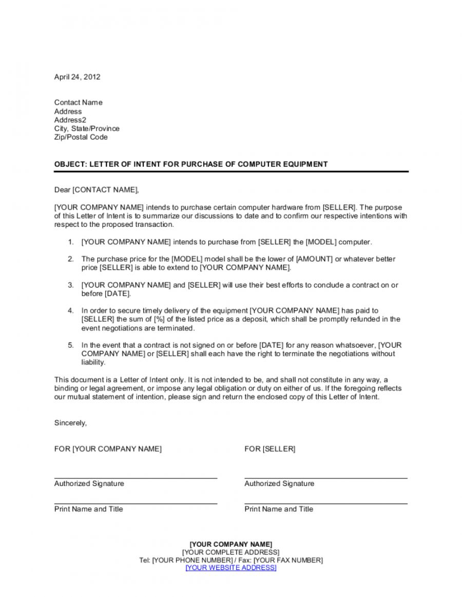 Equipment Purchase Proposal Template Letter Of Intent Proposal Templates Intentions