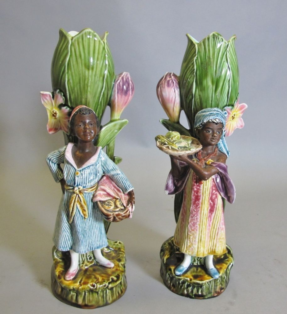 Rare pair of antique majolica blackamoor figurines c 1900 art rare pair of antique majolica blackamoor figurines c 1900 art pottery reviewsmspy