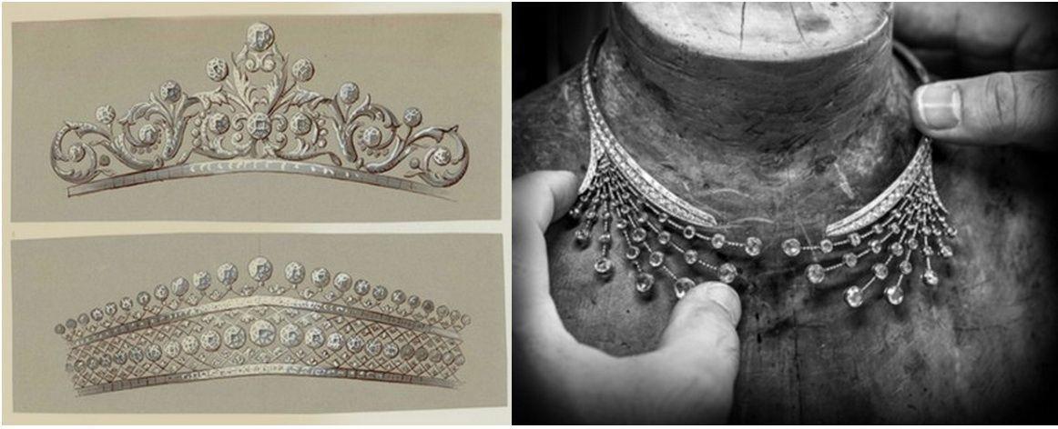 Splendeur de Russie TiaraA pair of tiara sketches from Boucheron's archives and the Splendeur de Russie necklace/tiara they helped inspire