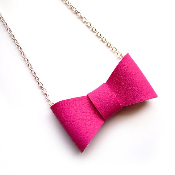 PINK BOW NECKLACE by iloveyoujewels on Etsy, $9.00