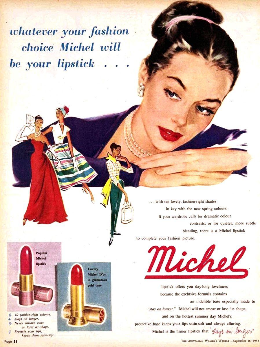 Michel, Lipstick Ad, Australia. 1953 #Michel | Lipstick ad ...