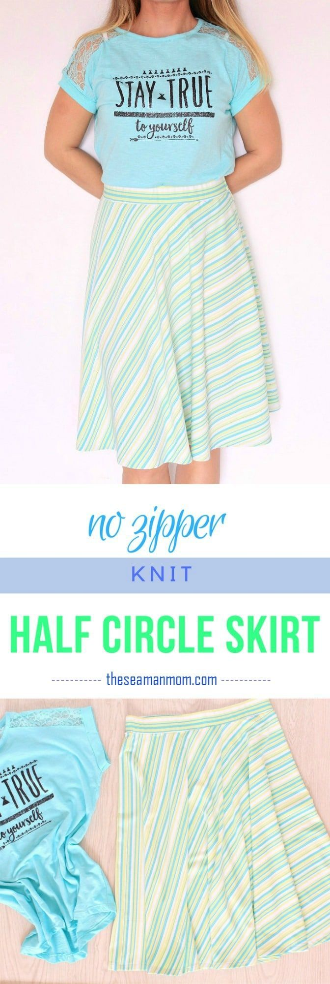 EASY KNIT HALF CIRCLE SKIRT SEWING TUTORIAL - Put together ...