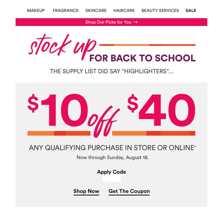 Targeted? Ulta Stock up Coupon--$10 off $40 #MUAontheCheap | Ulta, Beauty  services, Personal fragrance