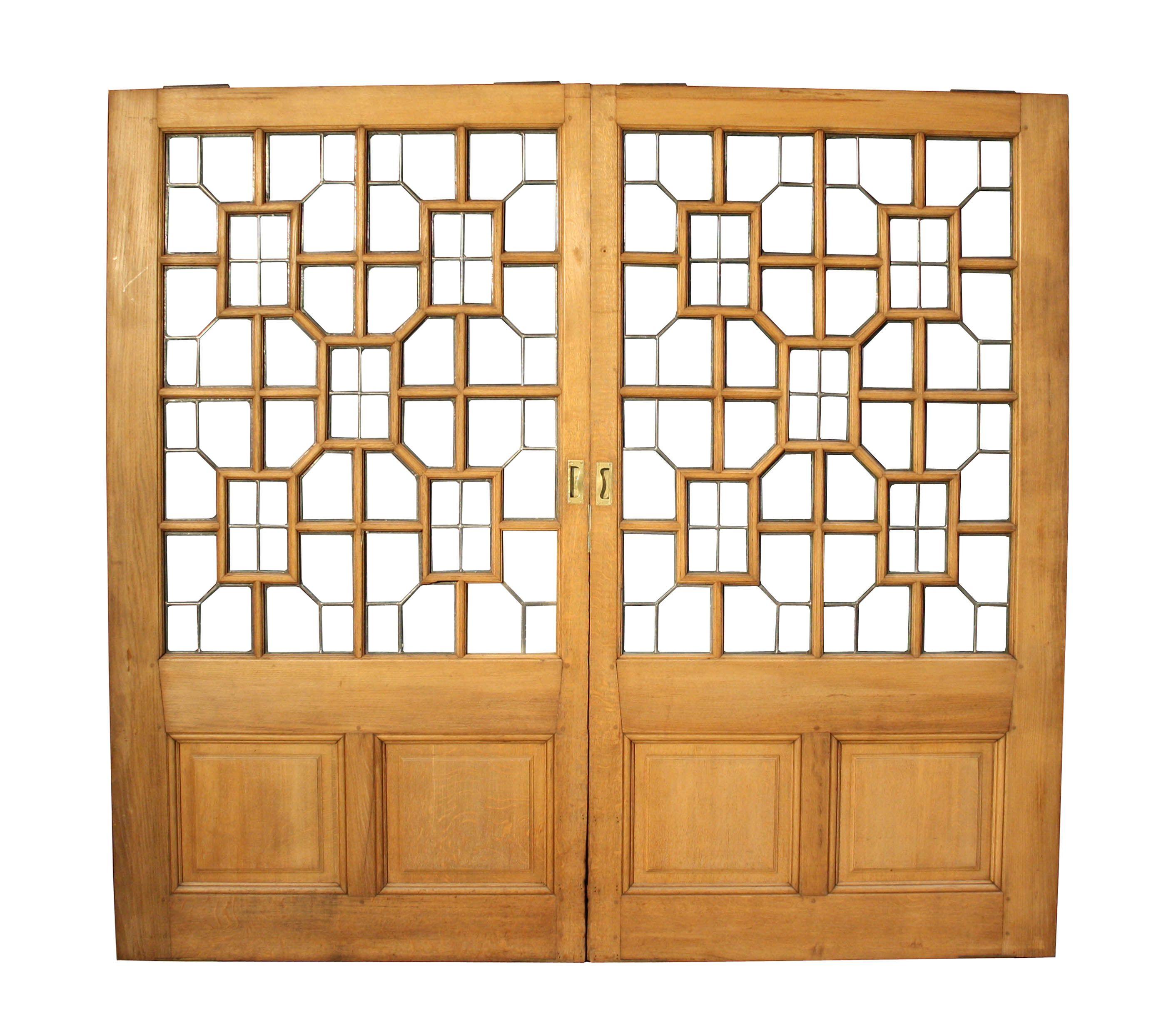 pair of edwardian oak sliding partition doors room dividers uk
