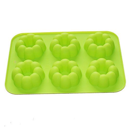 X-Haibei Round Flower Donut Scalloped Cookie Silicone Mold Soap Chocolate Pan