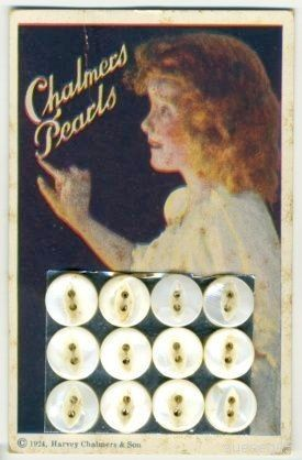 "ButtonArtMuseum.com - Vintage button card ""Chalmers Pearls"". (c) 1924 Harvey Chalmers & Son"