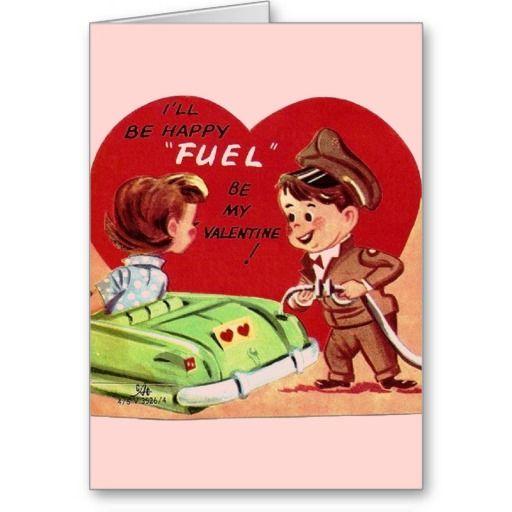 Vintage Gas Station Attendant Valentine's Day Card