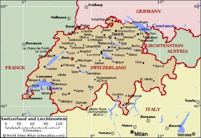 Ginebra, Suiza en un mapa de Europa — Fotos de Stock