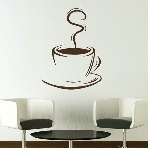 Coffee Cup Removable Kitchen Wall Stickers / Wall Decals / Large Wall Art  Murals For Home