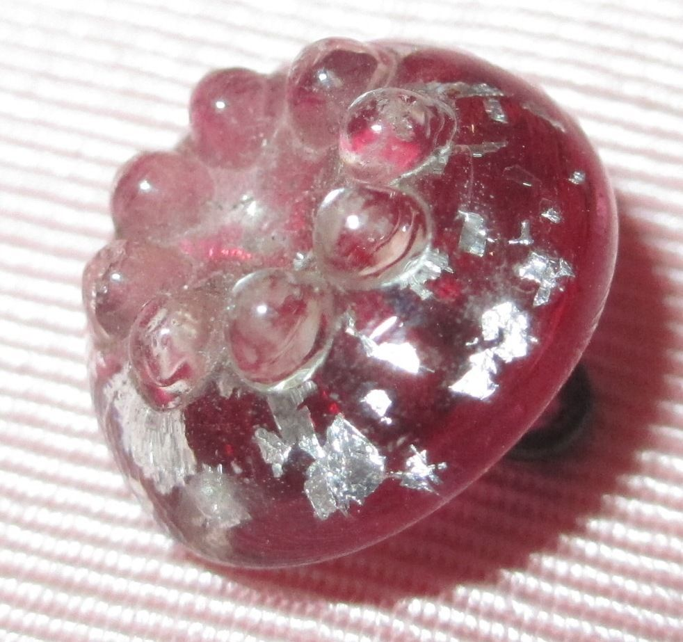 Antique Victorian Charmstring Button - Molded Cranberry Glass Swirlback w Foil
