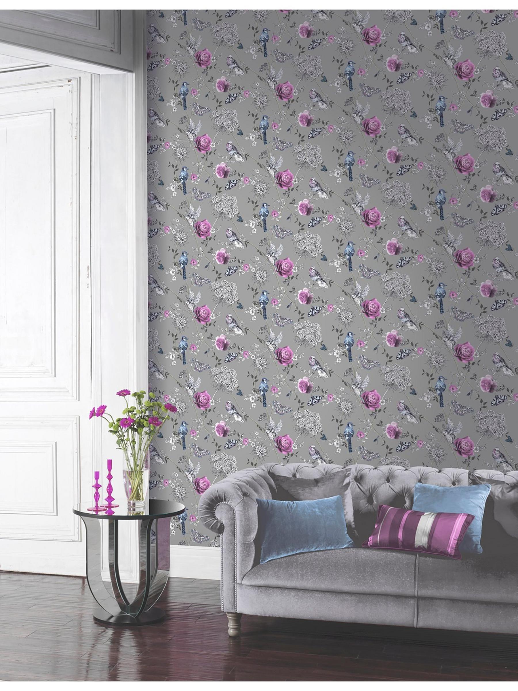 Arthouse Paradise Garden Silver Wallpaper Ilver
