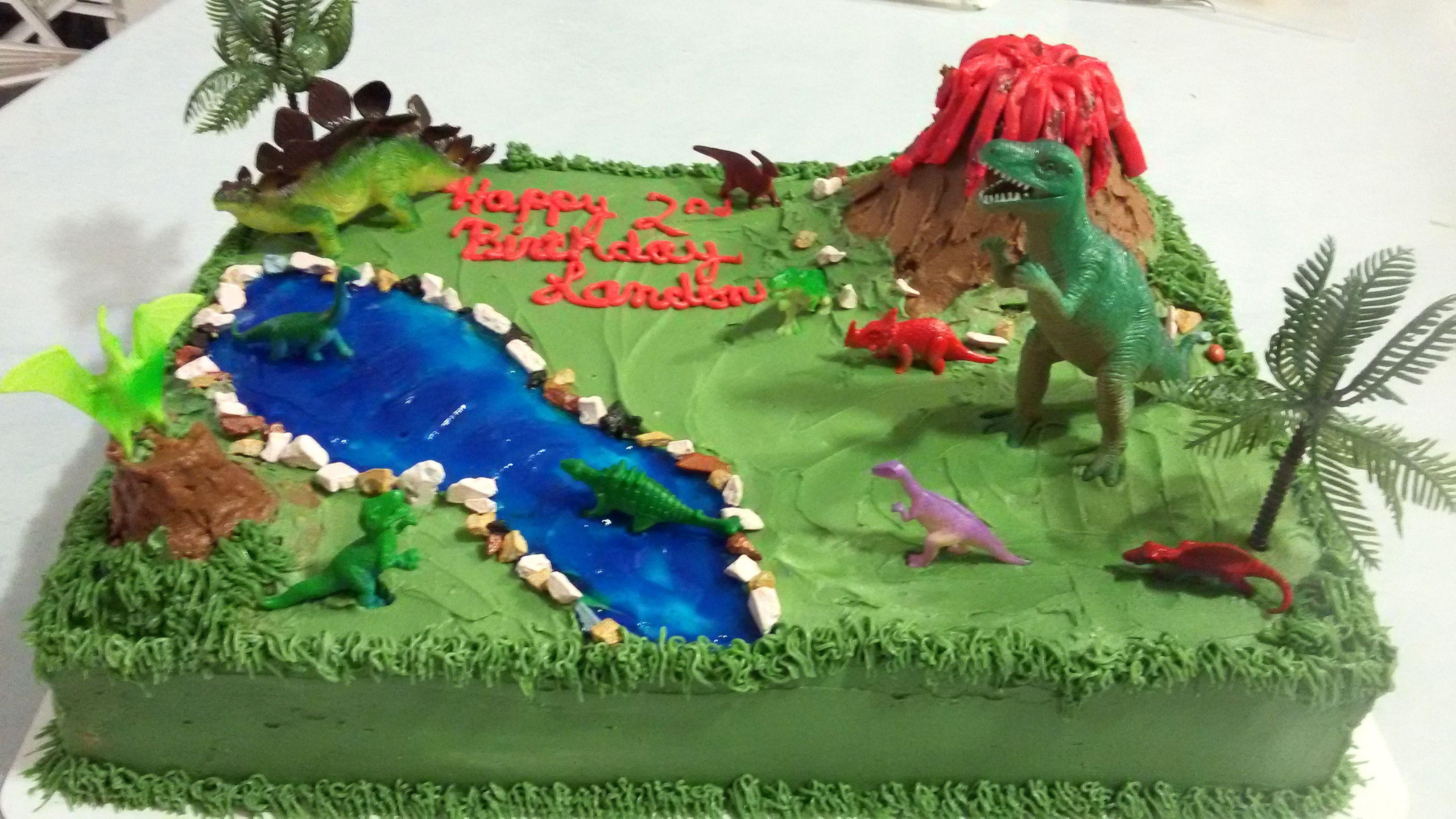 Dinosaurs sheet cake chocolate wbanana cream filling